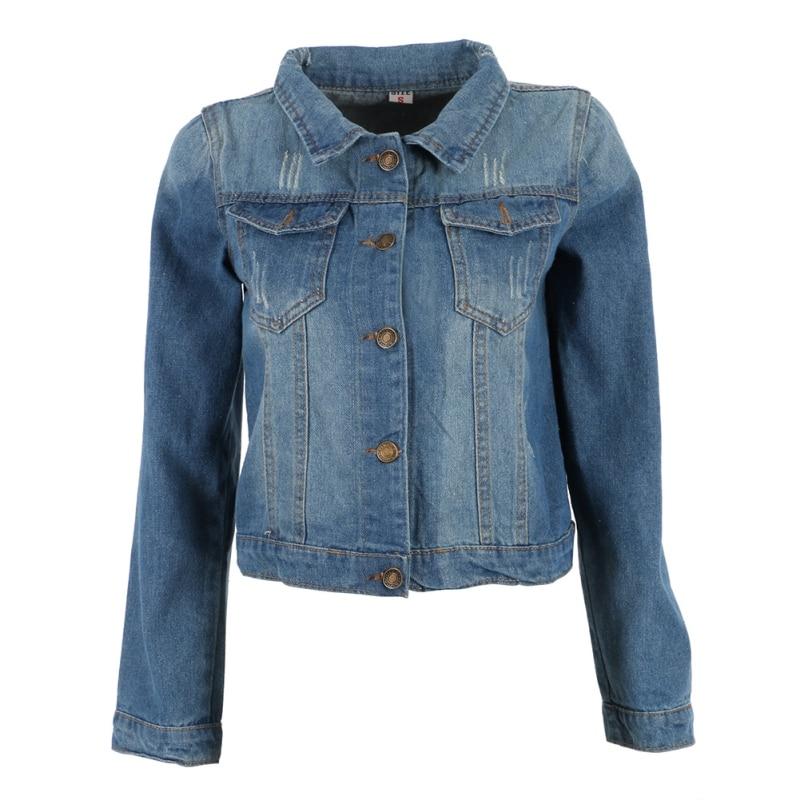 Autumn Street Style Women Fashion Frayed Jeans Denim Jacket Long Sleeve Slim Casual Short Coat
