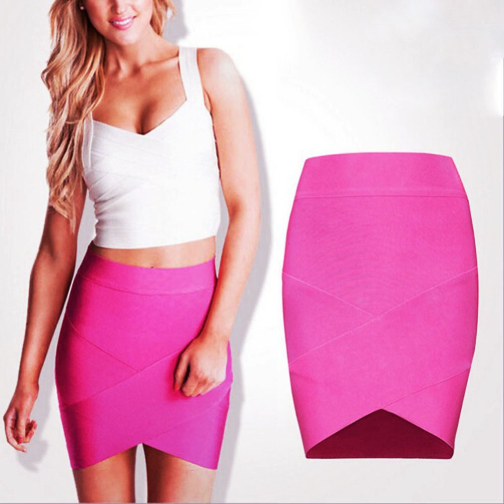Sexy Women Mini Short Skirts Ladies Solid Bandage Rayon Good Elastic Wiggle Slim Pencil Clubwear Suitable Casual Formal Clothing