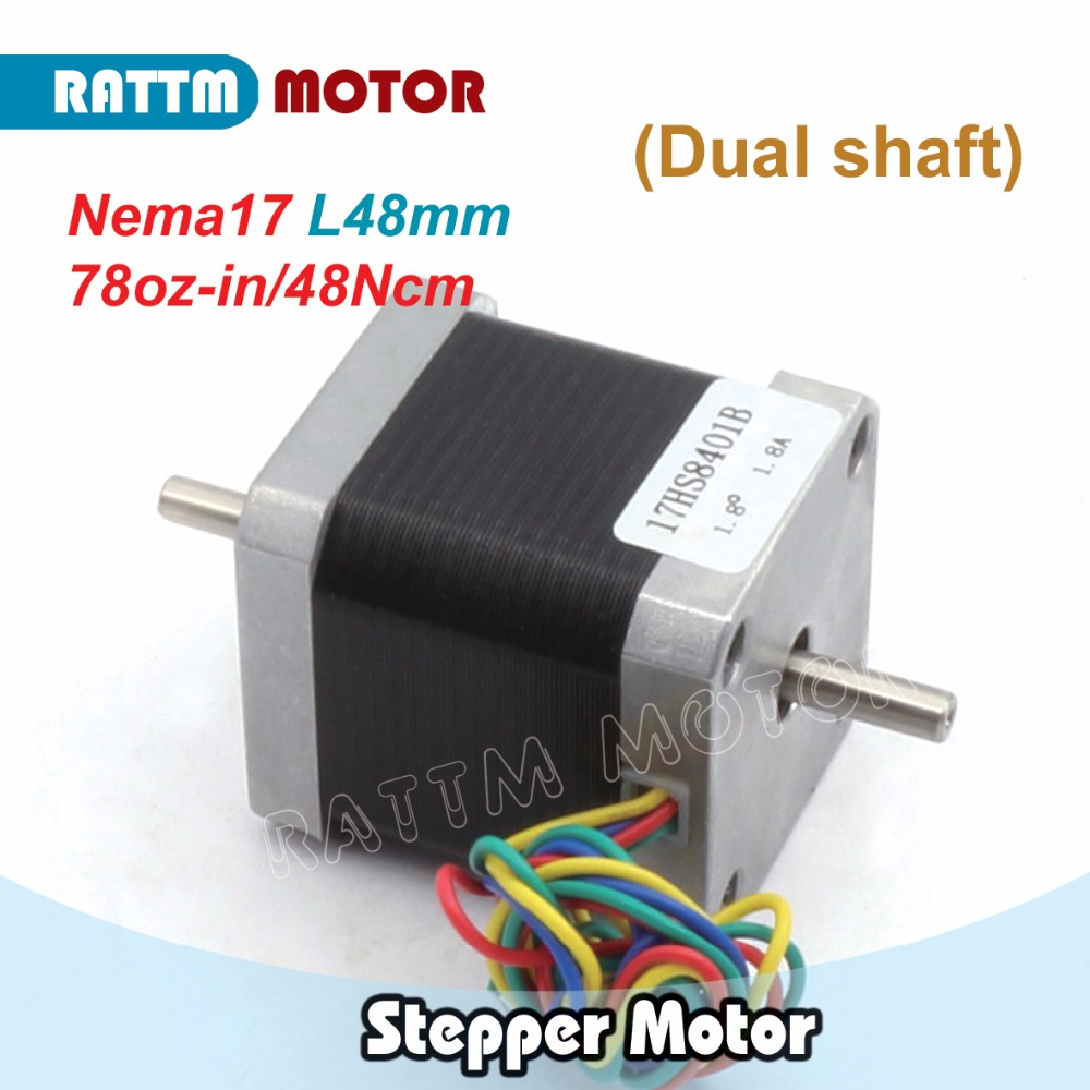 Nema17 CNC stepper motor 78 Oz-in (Dual shaft) 48mm stepping motor/1.8A for 3D Print CNC Router from RATTM MOTOR rus ship quality dual shaft nema34 154mm 1600 oz in 5 0a cnc stepper motor stepping motor for cnc machine from rattm motor