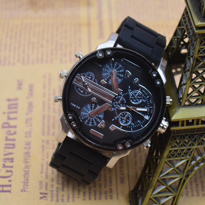 0d04945a8d Extravagant Brand Male Movement Quartz Watch Red Rubber Strap Multi function  Two Time Zone Military Sports Watch Automatic Date-in Quartz Watches from  ...