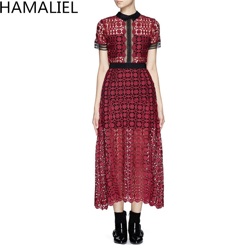 Water Soluble Lace Summer Women Runway Midi Dress 2018 Self Portrait Wine Red Patchwork Hollow Out Lace Sexy Short Sleeve Dress