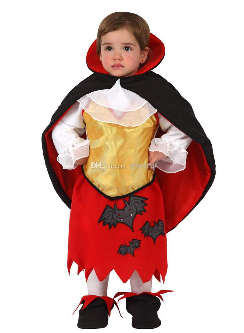 Wholesale - 2016 New Style Party Clothing Halloween Cosplay Costume For Infant Baby Girl Cloak Devil Costume Red Color