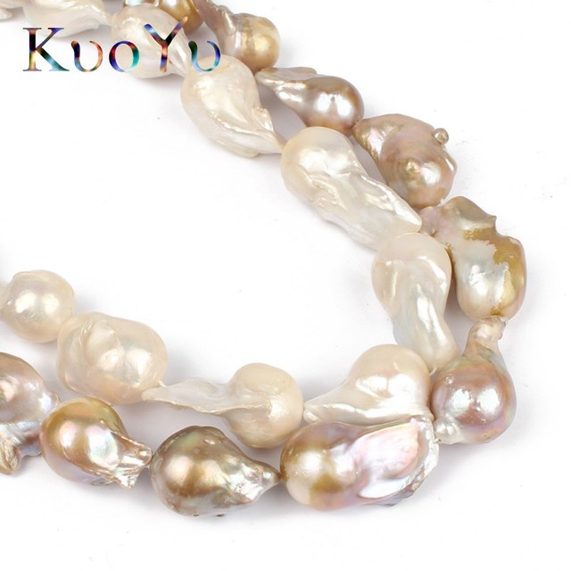 """14 28MM 100% Natural Big Irregular Baroque Pearl Freshwater Beads High Quality For Bracelet Necklace DIY Jewelry Making 15""""White"""