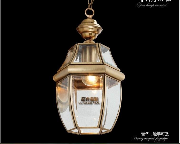 Gratis Verzending 1l D190mm 40w Messing Hanglamp 1 Licht Vintage Totaal Koper Glas Ac110v