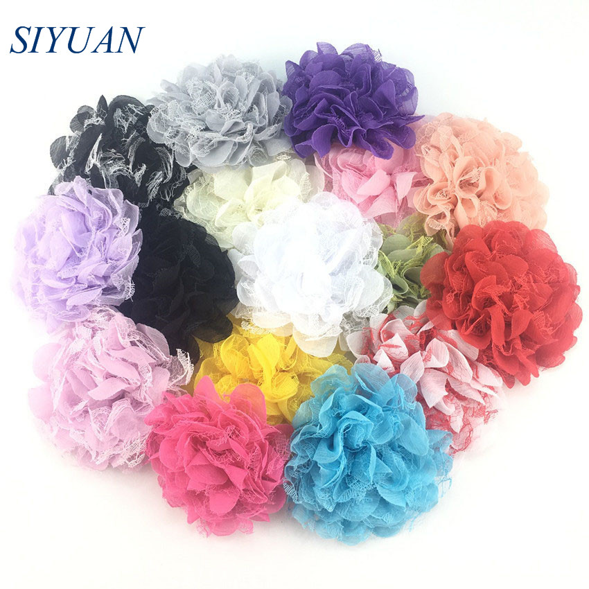 10pcs/lot 10cm Mesh Chiffon Flowers Boutique Hair Accessories DIY Flower Headwear Hair Flowers with Clip MH21(China)