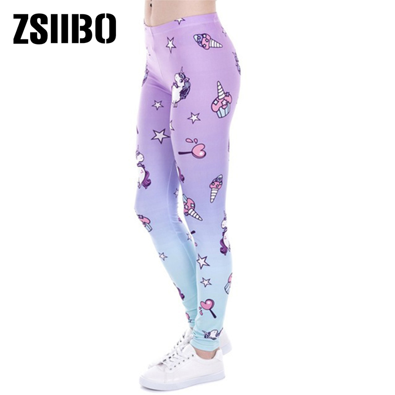 New Brand Fashion Women   Leggings   Unicorn And Sweets Printing leggins Fitness   legging   Sexy Low waist Woman warm Elasticity pants