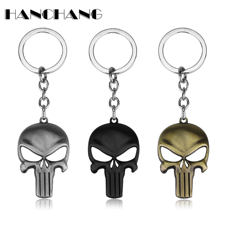 Fashion Jewelry Personalized Cool The Punisher Skull Mask Key Chian Metal Keyring For Men Cool Accessories Chaveiro Chain