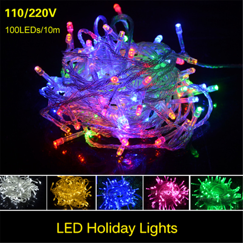 LED String Lights New Year Christmas 10m 100LEDs Outdoor 10m 100LEDs 110V 220V with US EU plug Waterproof Fairy Lights Garlands