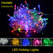 LED String Lights New Year Christmas 10m 100LEDs Outdoor 10m 100LEDs 110V 220V with US EU plug Waterproof Fairy Lights Garlands(China)