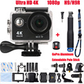 """HOT waterproof H9R Ultra HD 4K Sports Action Camera Video Wide Angle 2.0"""" Screen 1080p 60fps H9 + 2.4G Remote control+Monopod"""