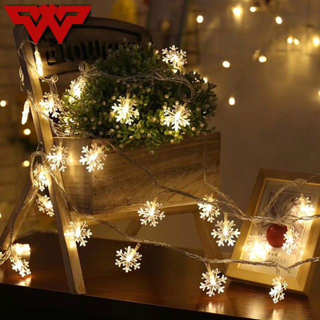 2 3aa battery string lights white snowflake window garland decorations wedding christmas party