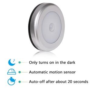 Image 4 - Настенный светильник с пассивным инфракрасным датчиком движения, 6 светодиодов, питание от батарейки, Индукционная лампа для чулана, коридора, Кабинета светодиодный сенсорный светодиодный светильник
