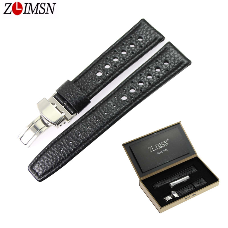 ZLIMSN Genuine Leather Watch Strap 20 22mm Watchband Black Brown Men Women Stainless Steel Butterfly Buckle Watches Accessories zlimsn alligator leather watch bands strap watches accessories 20 22mm black brown genuine leather watchbands butterfly buckle
