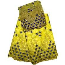 Африканский кружевной ткани в африканском стиле Базен Riche ткань высокого качества Базен Riche Getzner с бисером в желтый для свадьбы hr48-46