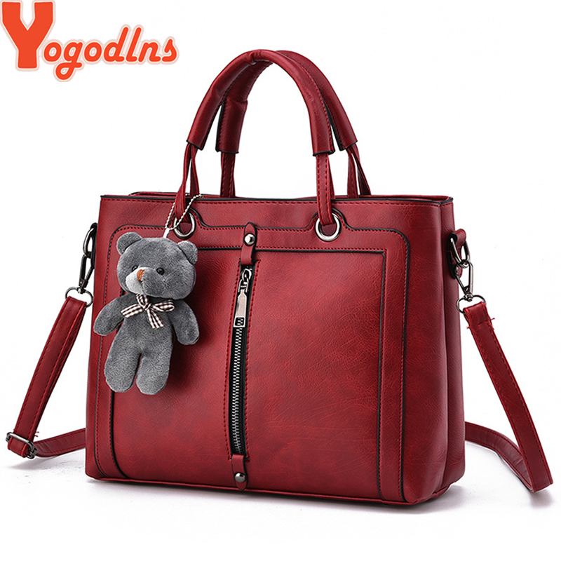 Yogodlns Medium Large Capacity Ladies Totes Zipper Bear Strap Thread Shopping Office Women Crossbody Shoulder Bag Handbags