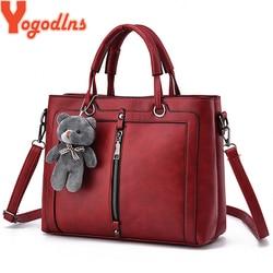 Yogodlns medium large capacity ladies totes zipper bear strap thread shopping office women crossbody shoulder bag handbags
