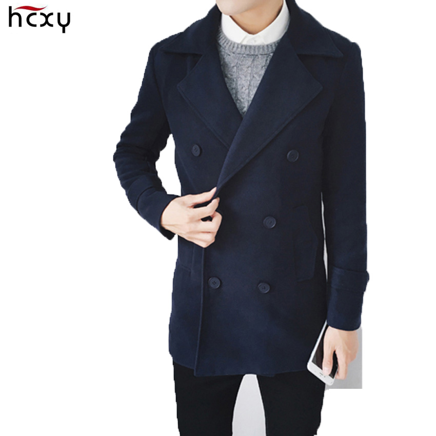 HCXY brand 2016 Autumn and winter Korean casual double breasted Windbreaker Male youth Slim Men s