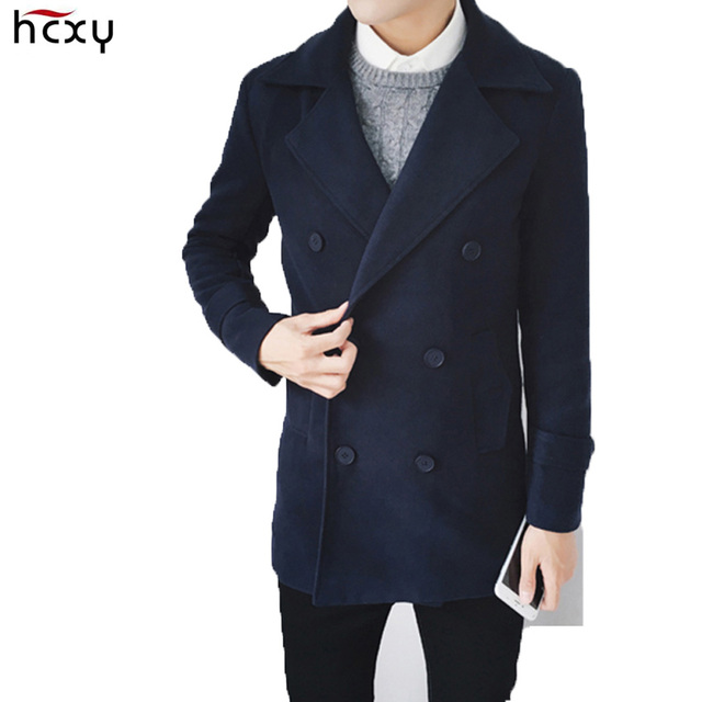 HCXY brand 2016 Autumn and winter Korean casual double-breasted Windbreaker Male youth Slim Men 's Wool Coat Overcoat warm thick