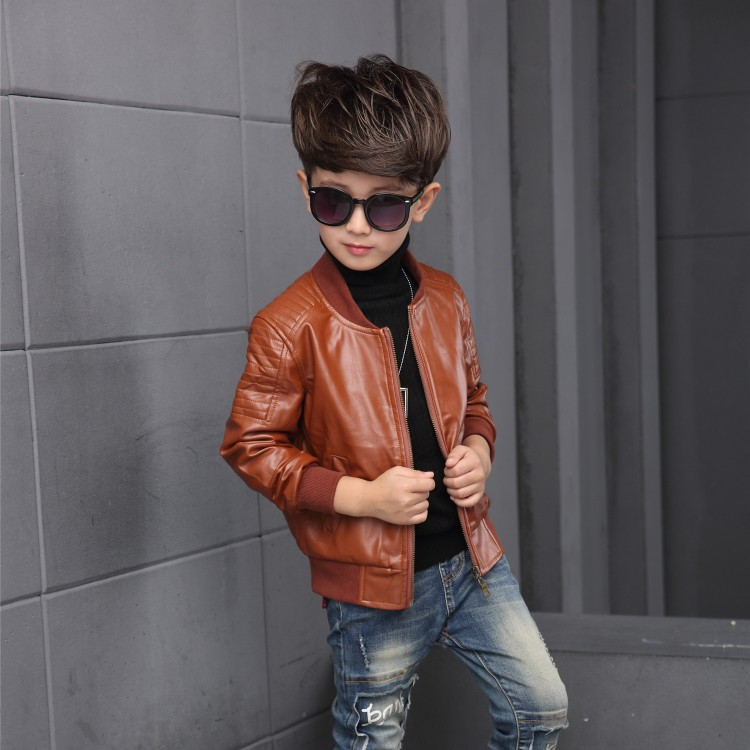 5e0d2ccede24 ... 2018 New Baby Boy faux Leather Jacket Boys Coat Black and Brown Color  Children Jackets Manteau ...