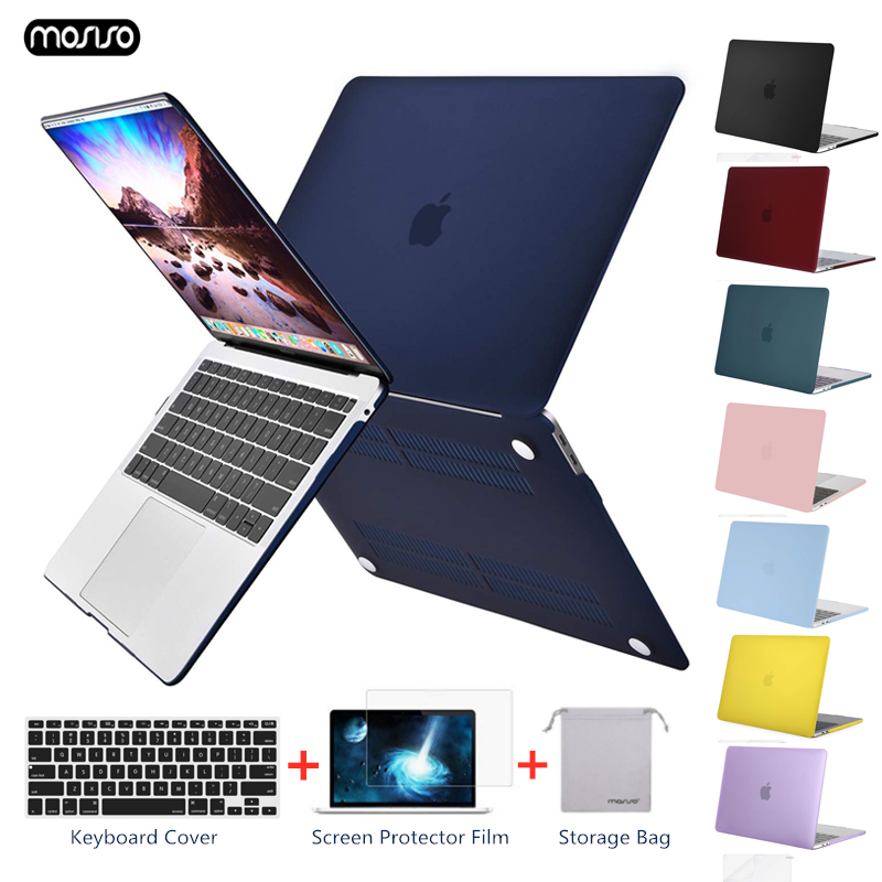Crystal Matte Frosted Case Cover Sleeve For Macbook Air Retina Pro 13 15 with/out Touch Bar A1706 A1707 A1990 AIR 13 2018 A1932-in Laptop Bags & Cases from Computer & Office