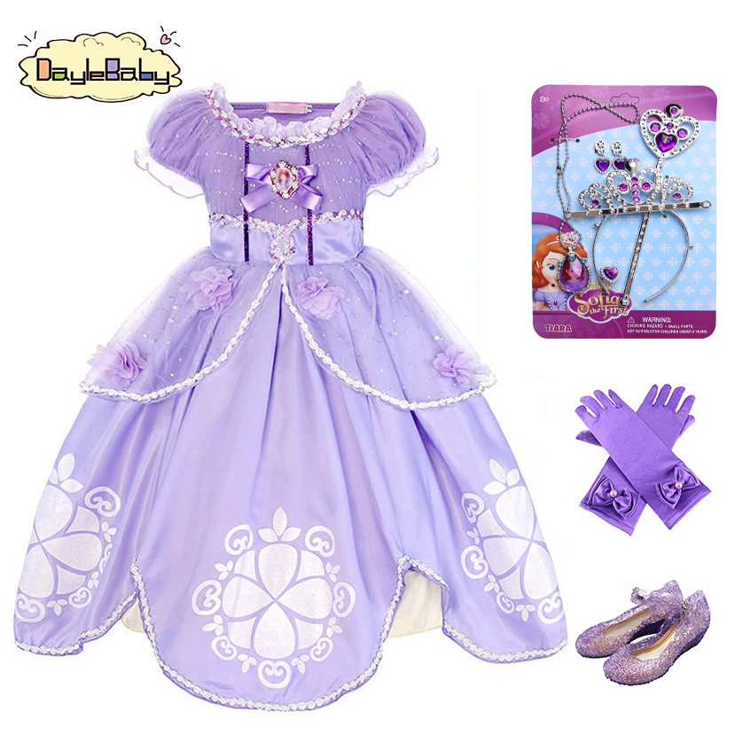 DAYLEBABY Girls Sofia <font><b>Princess</b></font> <font><b>Dress</b></font> Kids Sophia Sleeping Beauty <font><b>Party</b></font> <font><b>Dresses</b></font> Child Girl Rapunzel Aurora Prom Purple Costume image