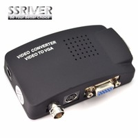 SSRIVER TV BNC Composite S-video VGA In to PC VGA LCD out Converter Adapter Box Black TV TO PC Converter