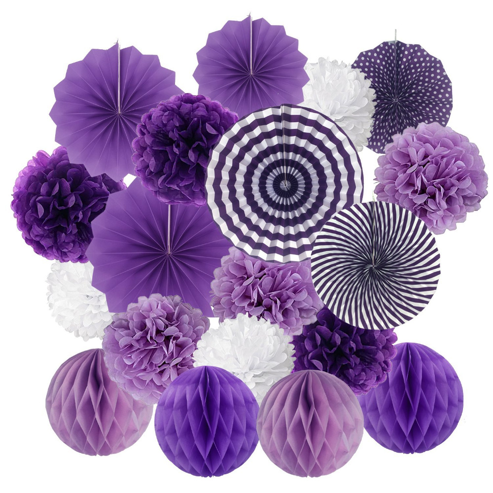 19pcsset Purple Tissue Paper Pom Poms Flower Fan And Honeycomb
