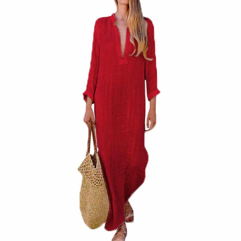 女性ジプシードレスローブ長袖 V ネックエスニック自由奔放に生きる綿リネン夏のビーチマキシドレス