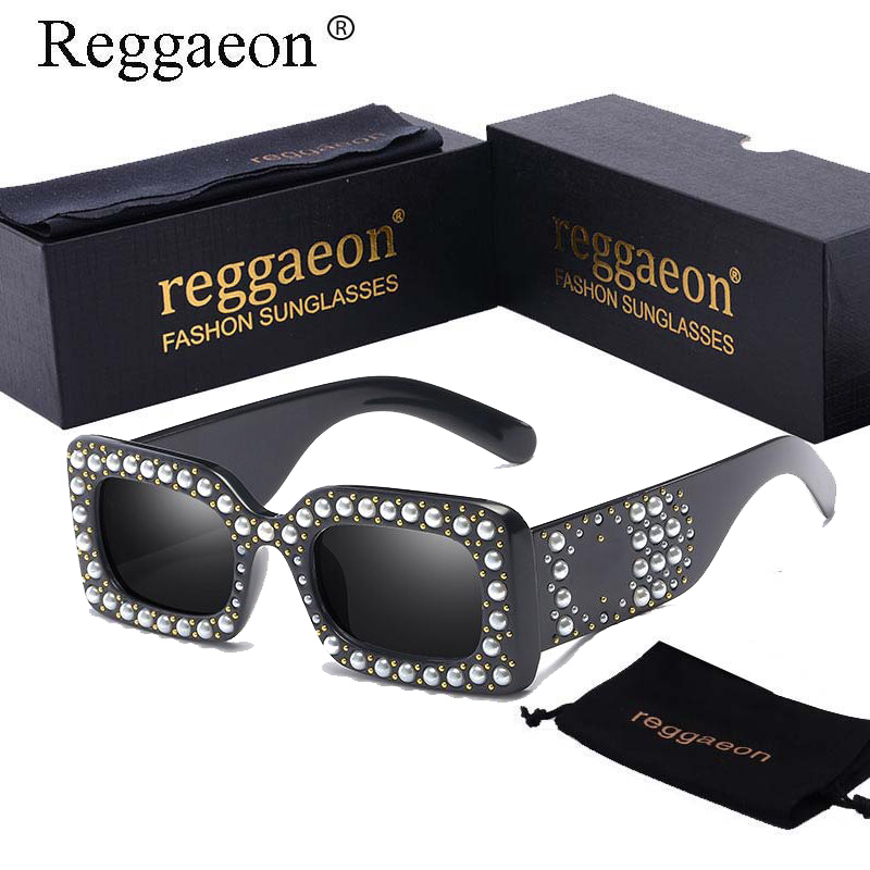 Reggaeon luxe pleine perle carré lunettes de soleil hommes femmes 2018 marque Designer lunettes de soleil mâle Vintage Rivet lunettes de soleil nuances UV400