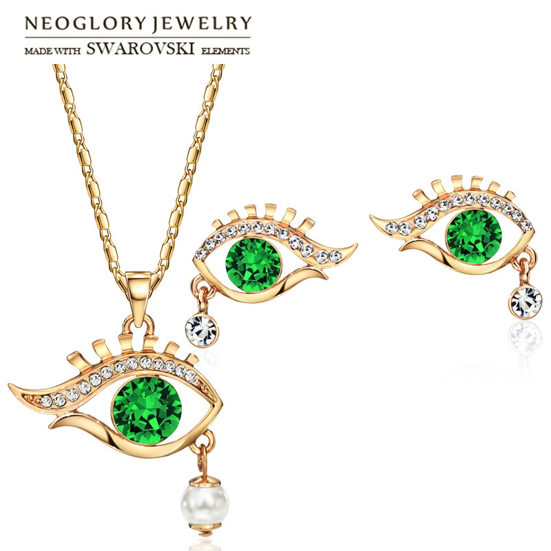 Neoglory Earrings Jewelry-Set Necklaces Rhinestone Pearl Party Rose-Gold-Color Elegant