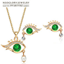 Neoglory Austria Rhinestone & Simulated Pearl Jewelry Set Rose Gold Color Elegant Eye Shaped Trendy Necklaces & Earrings Party(China)