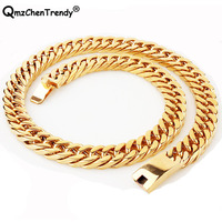 Stainless Steel Jewelry Gold Color High Polished Heavy Curb Cuban Link Necklace For Men Exaggerated Punk