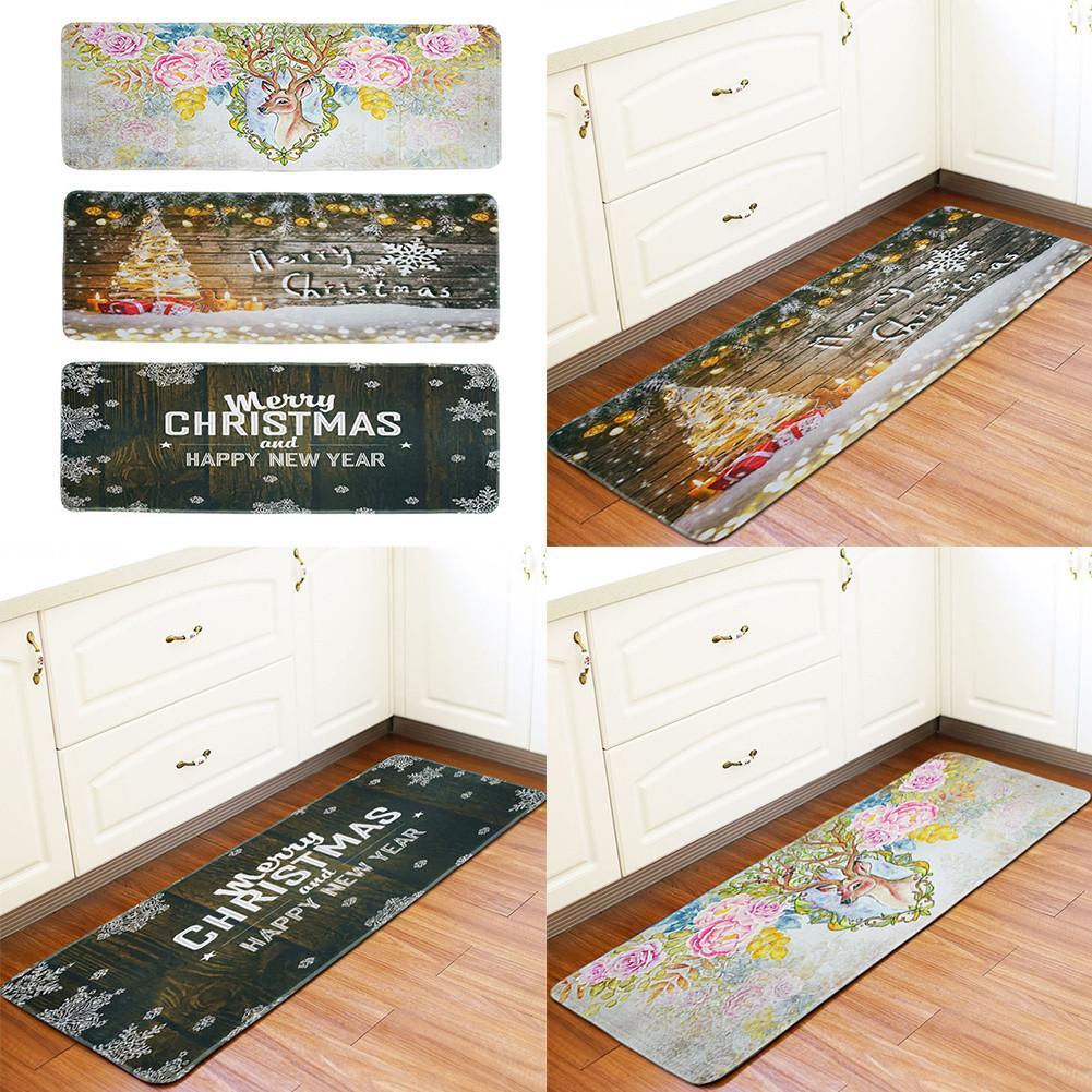 New 60*170cm Christmas decoration non-slip mats Kitchen bathroom mats Flannel material soft comfortable absorbent Bath Mat