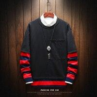 Hoodie Men Sweatshirts 2pc outdoor wear Stitching Rock Style Printed Hoodies Rap Male Sweatshirt