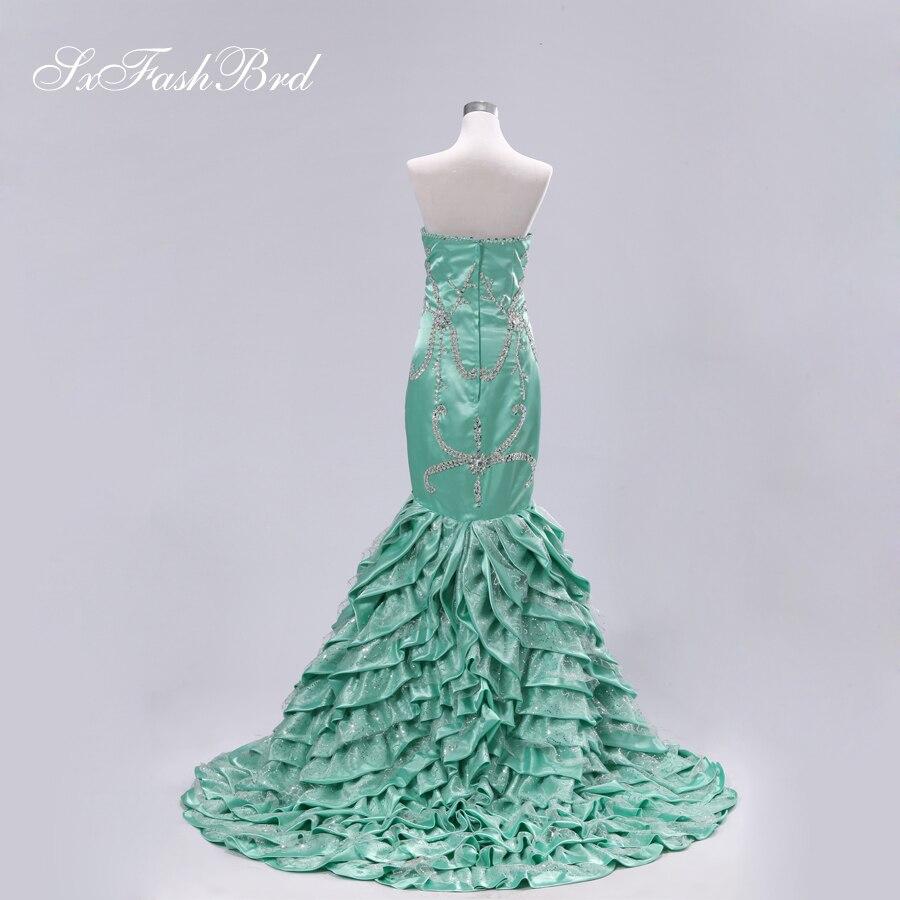 Милая Ницца Бисер узор установки лиф рябить русалка изумрудно-зеленый рыбий хвост реального вечернее Couture Платья для женщин халат De Soiree