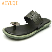 AIYUQI Women slippers flip flop 2019 new summer beach women genuine leather footwear shoes sandals flat casual