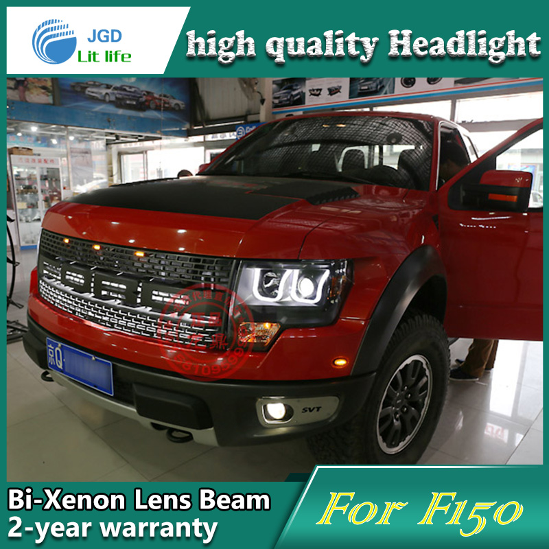 Car Styling Head Lamp case for Ford Raptor F150 Headlights LED Headlight DRL Lens Double Beam Bi-Xenon HID car Accessories 4pcs set car interior accessories side door molding trim for land rover range rover sport 2014 2015 2016 2017 styling abs chrome