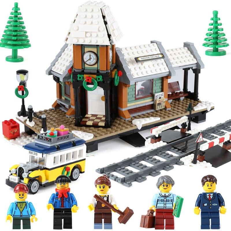 36011 1010Pcs Genuine Creative Series Winter Village Station Model Building Blocks Bricks Toys Children Compatible Legoe Lepine lepine model