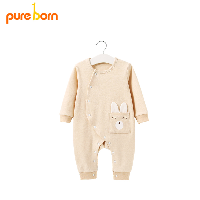 Pureborn Baby Boy Girl Clothes Baby Rompers Long Sleeve Organic Cotton Sleepwear 2018 Newborns Toddlers Infant Baby Clothing