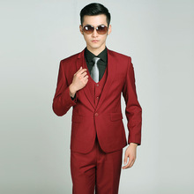 2017 brand new men's suits Slim wine red wedding dress and groom