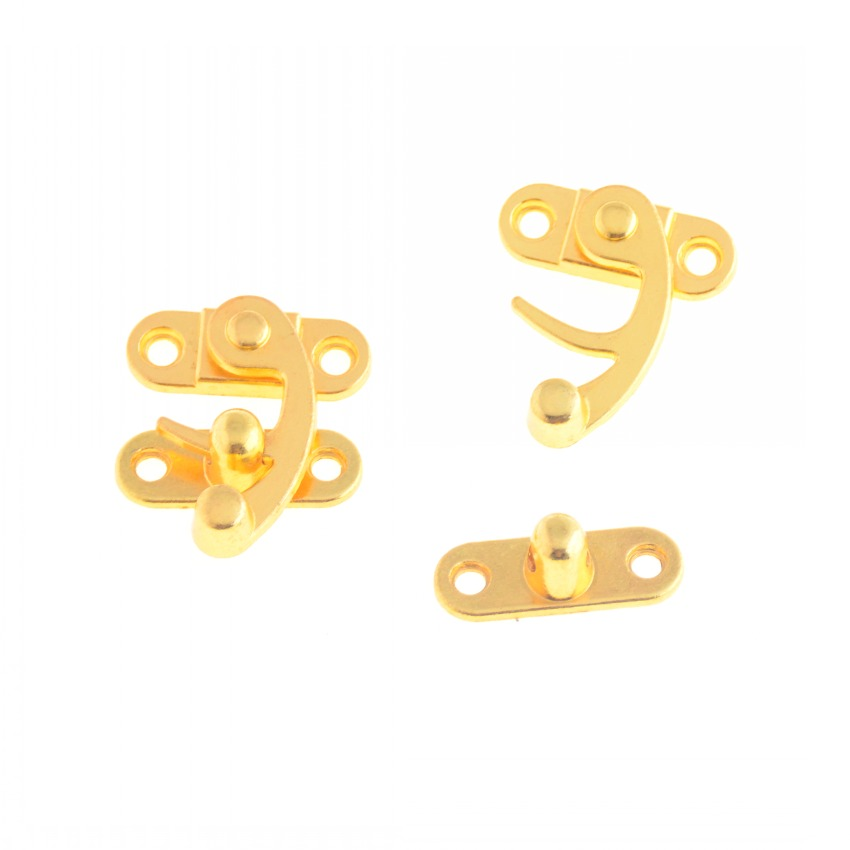 Free Shipping 4 Sets Golden Metal Hook Box Latches Clasp Bag Box Lock Purse Lock 33x28mm (not With Screw) F1088