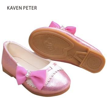 2017 Bowtie designer kids flat shoes for girls baby part wedding dress fashion boat shoes children's orthopedic footwear