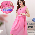 Casual Dress Maternity Nursing Vest Dress Sleeveless Clothes Full Dress Clothes For Pregnant Women Maternity Photography Dress