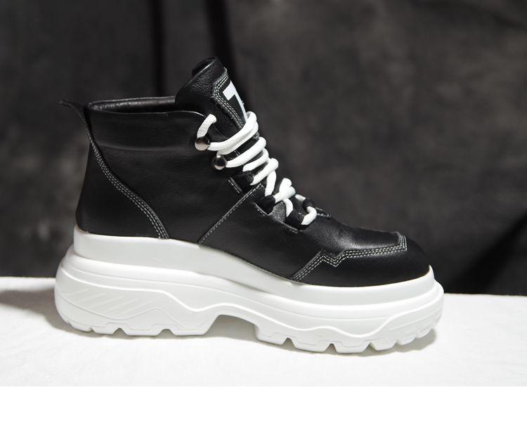 As Cuero Gruesa Zapatos Mujer De as Tacón Pic Pic Suela Para Alto Con q6F8f6z