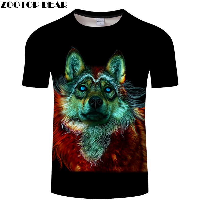 Colorful Wolf tshirts 3D t shirt Men Women t-shirt Streatwear Tee Harajuku Top Unisex 6XL Camiseta Short Drop Ship ZOOTOPBEAR