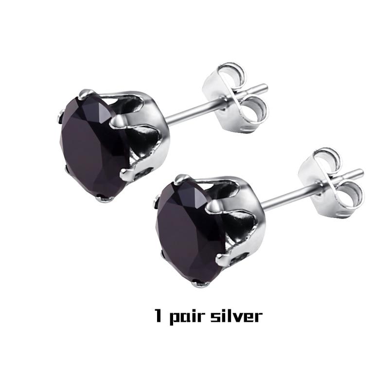 1 Pair Black Silver
