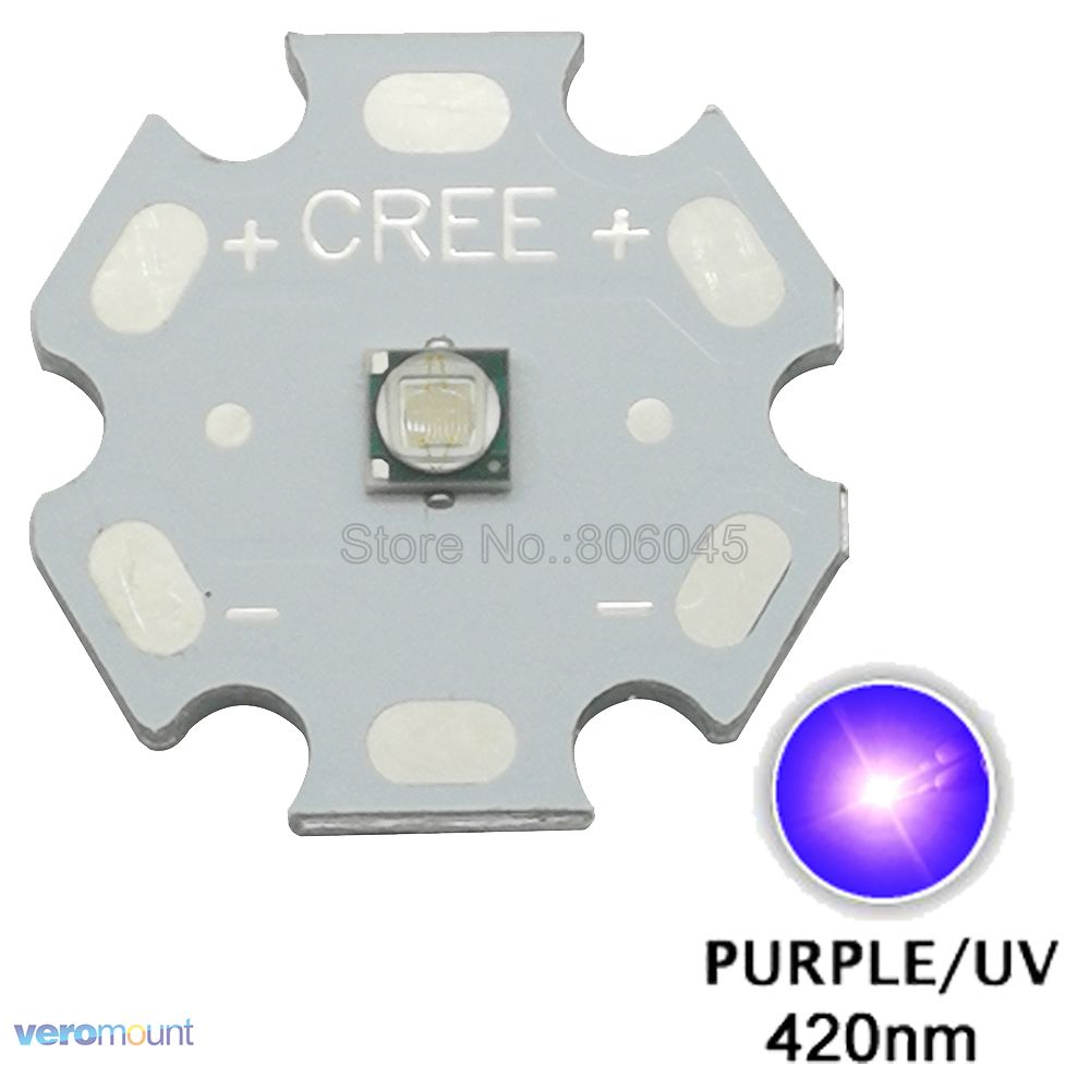 5PCS Epileds 3W 3535 UV/Ultra Violet <font><b>420NM</b></font> High Power LED Bead Emitter Diode Chip with 16mm 20mm Aluminum / Copper PCB Heatsink image