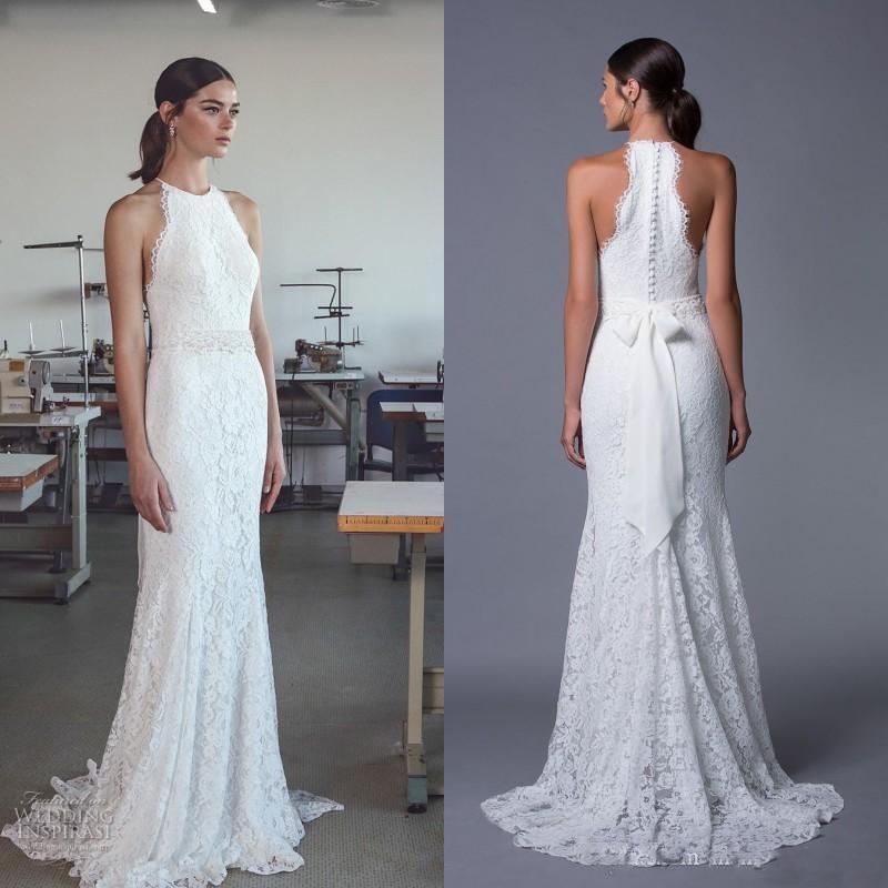 Country Style 2017 Beach Wedding Dress Sheath Column Full Lace
