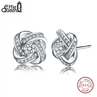 Effie Queen Authentic 925 Sterling Silver Dazzling Flower Stud Earrings With Clear CZ Fashion Jewelry for Girls BE23