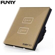 Funry UE Tocco standard Switch Sensore di Controllo Della Luce Interruttore Pannello Interruttore A Parete Lusso ST2 2 Gang 170 240 V di cristallo Temperato di Vetro